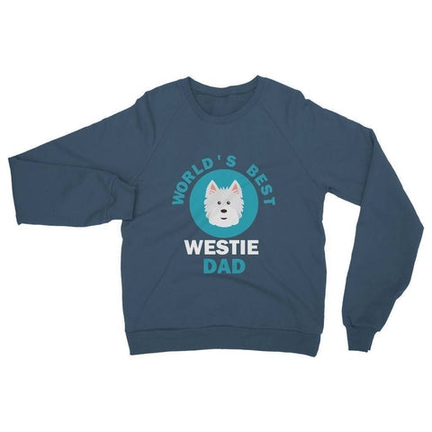 Image of World's Best Westie Dad Heavy Blend Crew Neck Sweatshirt Apparel kite.ly S Indigo Blue