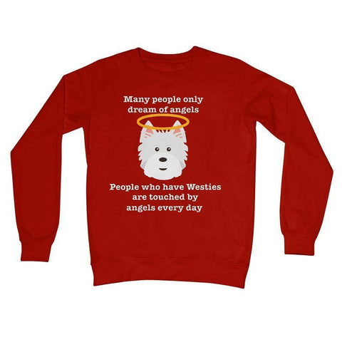 Image of Westie Angel Crew Neck Sweatshirt Apparel kite.ly S Fire Red