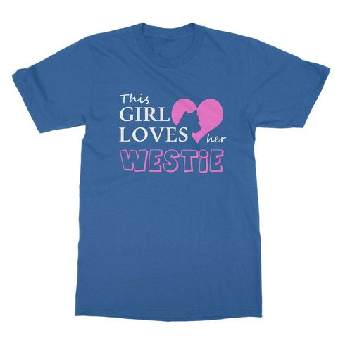 This Girl Loves Her Westie T-shirt Apparel kite.ly S Royal Blue