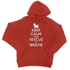 Keep Calm and Rescue a Westie College Hoodie Apparel kite.ly S Fire Red