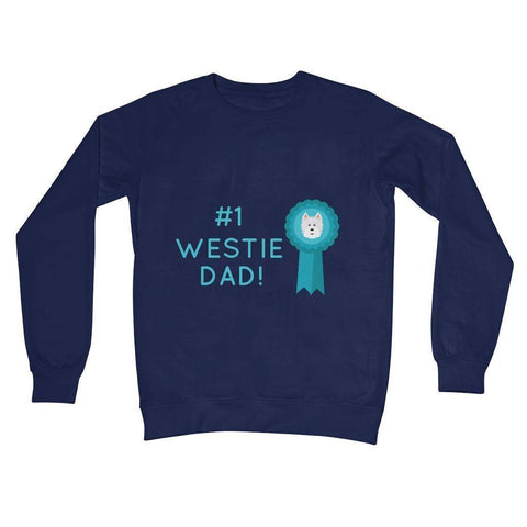 Image of Number 1 Westie Dad Crew Neck Sweatshirt Apparel kite.ly S New French Navy