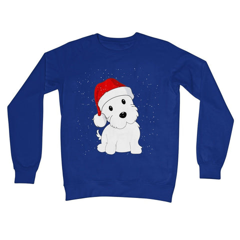 Image of Westie in a Santa hat Crew Neck Sweatshirt Apparel kite.ly S Royal Blue