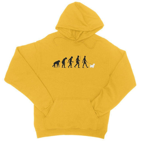 The Evolution Of Man And Westie College Hoodie Apparel kite.ly S Gold