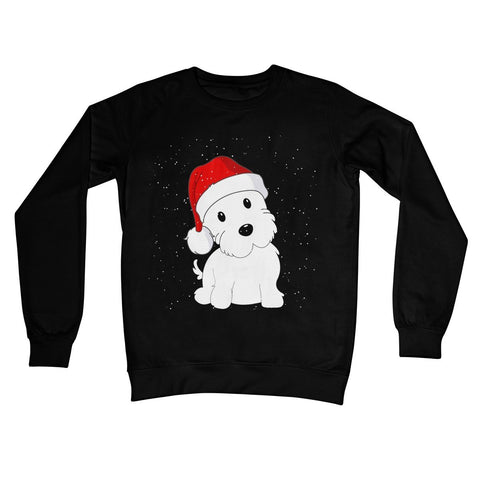 Image of Westie in a Santa hat Crew Neck Sweatshirt Apparel kite.ly S Jet Black