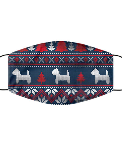 Westie Face Mask Christmas Jumper Printed Blue Mask Gearbubble