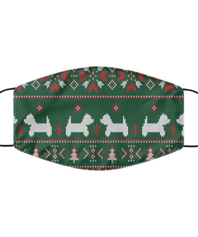 Westie Face Mask Christmas Jumper Printed Green Mask Gearbubble