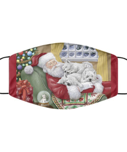 Santa and Sleeping Westies Mask Mask Gearbubble
