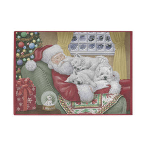 Santa and Sleeping Westies Chopping Board/Worktop Saver Cutting Boards teelaunch UK Supplier