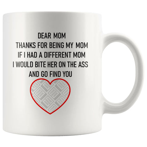 Image of Dear Mum/Mom Personalised Funny Mug For Dog Mothers Personalized Drinkware teelaunch Dear Mom