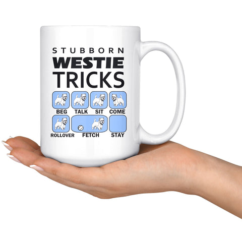Stubborn Westie Tricks Mug Blue Drinkware teelaunch