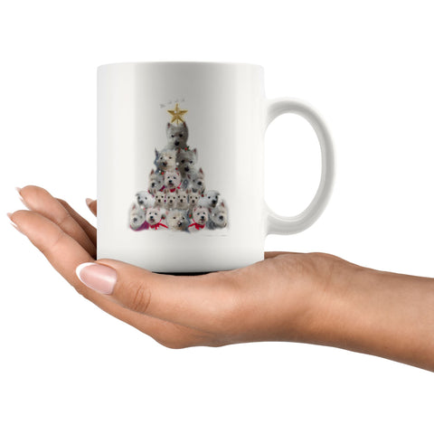 Christmas Tree Of Westies Mug - Xmas West Highland Terrier Coffee Drinkware teelaunch
