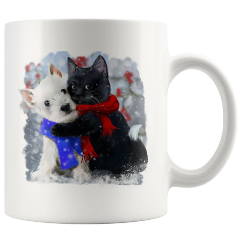 Best of Friends Winter Westie and Cat Mug Drinkware teelaunch 11oz Mug