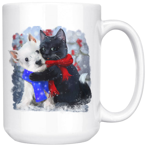 Best of Friends Winter Westie and Cat Mug Drinkware teelaunch 15oz Mug