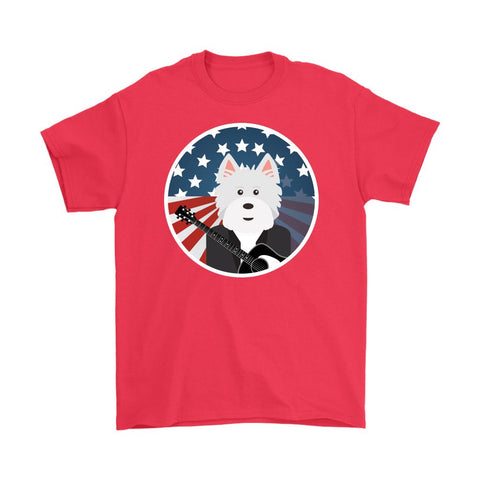 Image of American Westie With a Guitar Softstyle T-shirt T-shirt teelaunch Gildan Mens T-Shirt Red S