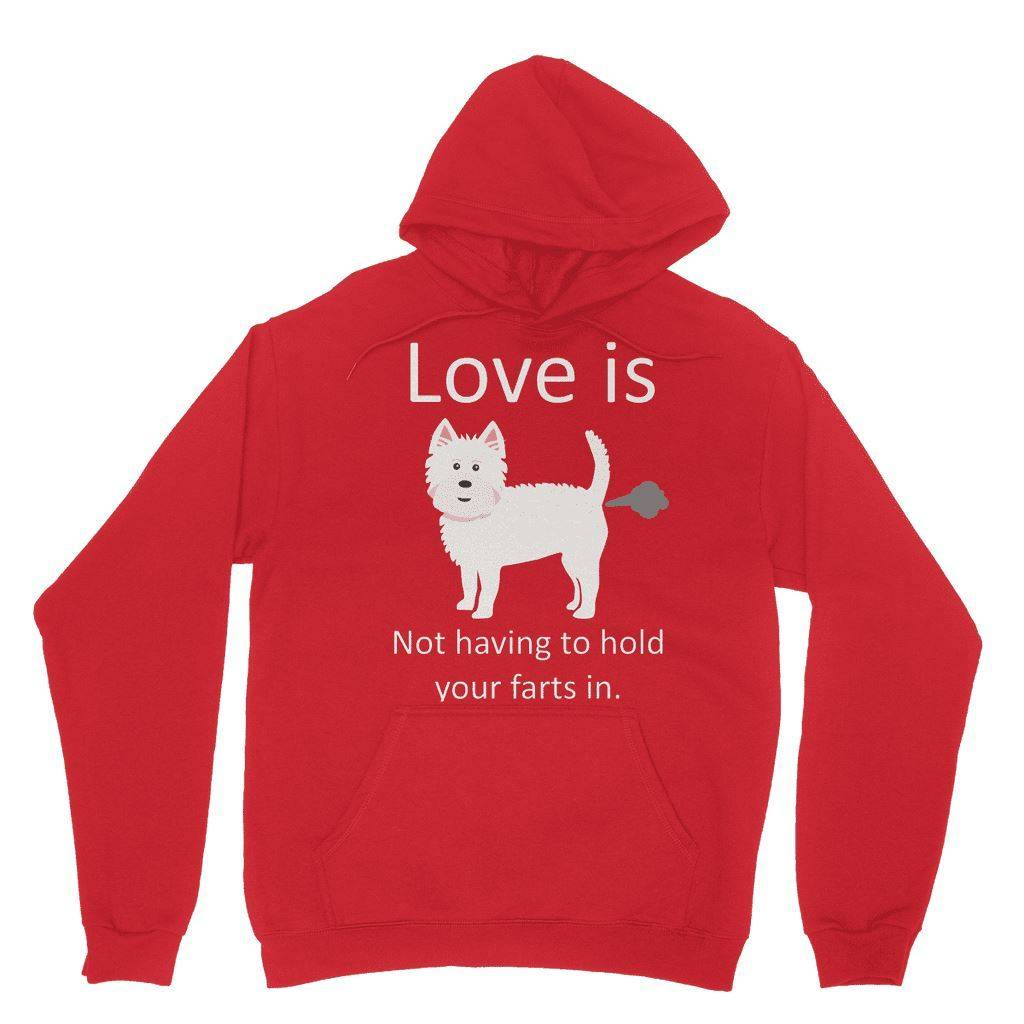 Love is not having to hold your farts in Heavy Blend Hooded Sweatshirt Apparel kite.ly XS Red