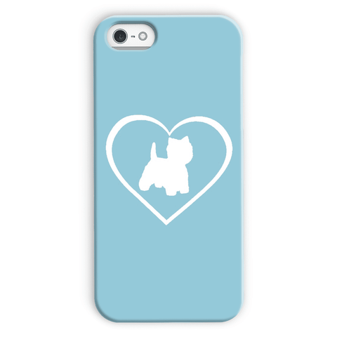 Image of Westie in a Heart Blue Phone Case