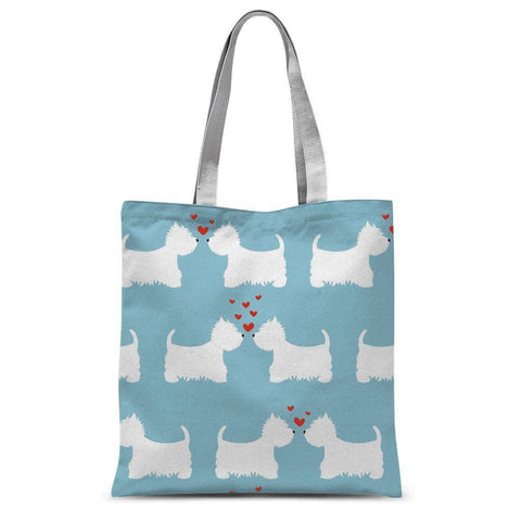 "Westies in Love Blue Tote Bag Accessories kite.ly 15""x16.5"""