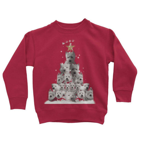 Image of Kids Westie Christmas Tree Sweatshirt Apparel kite.ly 3-4 Years Fire Red