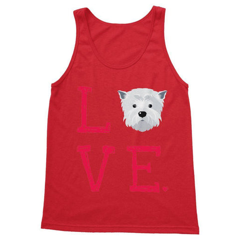 LOVE Westie Softstyle Tank Top Apparel kite.ly S Red