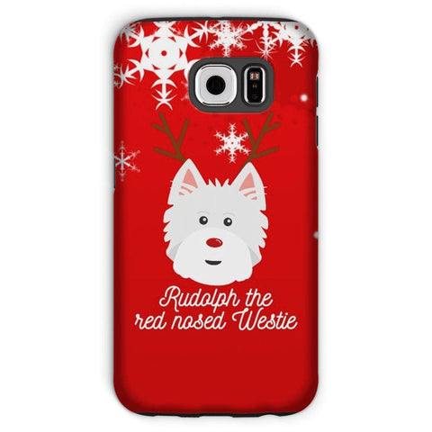 Image of Rudolph The Red Nosed Westie Phone Case Phone & Tablet Cases kite.ly Galaxy S6 Tough Case Gloss
