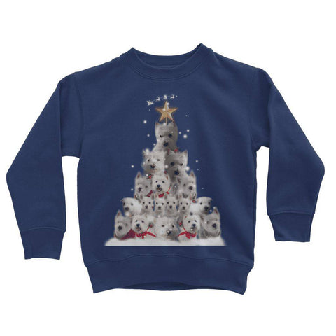 Image of Kids Westie Christmas Tree Sweatshirt Apparel kite.ly 3-4 Years New French Navy