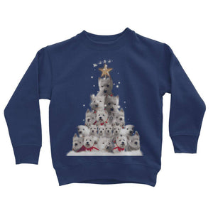 Kids Westie Christmas Tree Sweatshirt Apparel kite.ly 3-4 Years New French Navy