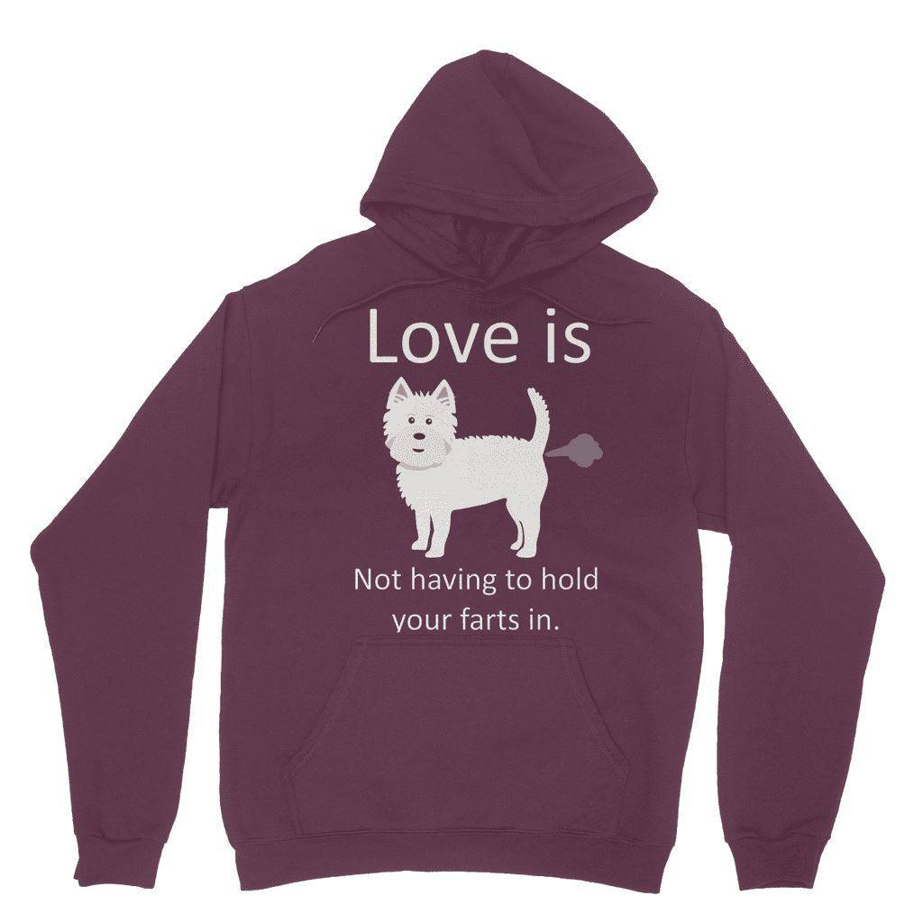 Love is not having to hold your farts in Heavy Blend Hooded Sweatshirt Apparel kite.ly S Maroon