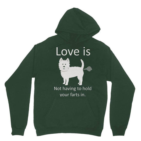 Image of Love is not having to hold your farts in Heavy Blend Hooded Sweatshirt Apparel kite.ly S Forest Green