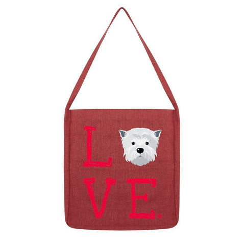LOVE Westie Tote Bag Accessories kite.ly Melange Red