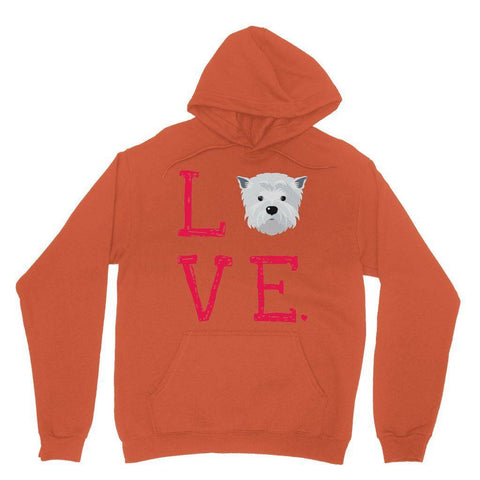 LOVE Westie Hoodie Apparel kite.ly S Orange