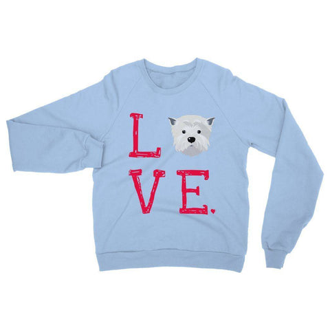 Image of LOVE Westie Sweatshirt Apparel kite.ly S Light Blue