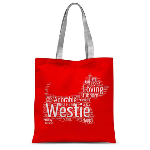 Red Westie Word Cloud Tote Bag Accessories kite.ly