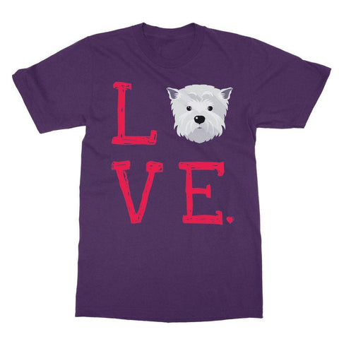 Image of LOVE Westie Tee Apparel kite.ly S Purple