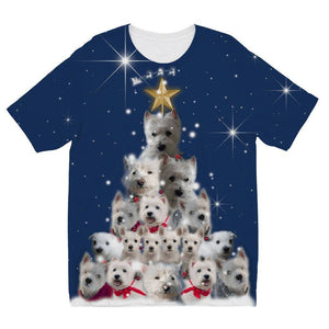 Kids Westie Christmas Tree All Over Print Tshirt Apparel kite.ly 3-4 Years
