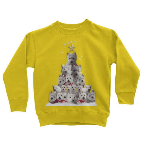 Image of Kids Westie Christmas Tree Sweatshirt Apparel kite.ly 3-4 Years Sun Yellow