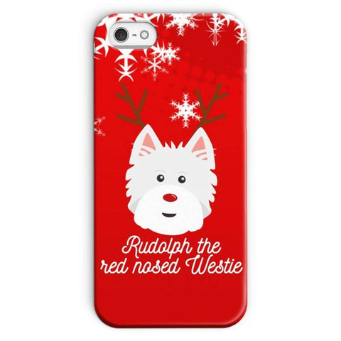 Image of Rudolph The Red Nosed Westie Phone Case Phone & Tablet Cases kite.ly iPhone SE Snap Case Gloss