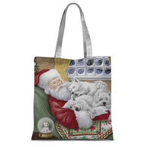 "Santa and Sleeping Westies Tote Bag Accessories kite.ly 15""x16.5"""