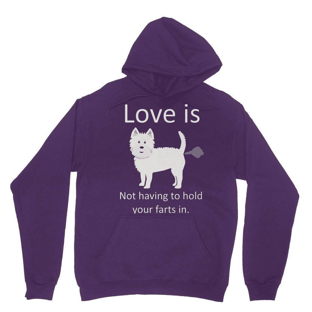 Love is not having to hold your farts in Heavy Blend Hooded Sweatshirt Apparel kite.ly XS Purple