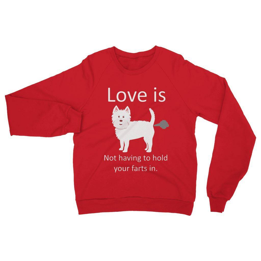 Love is not having to hold your farts in Heavy Blend Crew Neck Sweatshirt Apparel kite.ly S Red