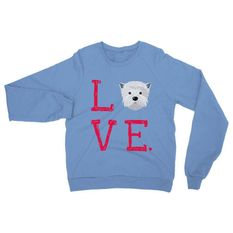 Image of LOVE Westie Sweatshirt Apparel kite.ly S Carolina Blue