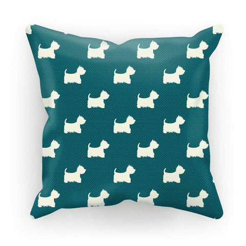 "Image of Blue Dots and Westies Cushion Homeware kite.ly Faux Suede 18""x18"""