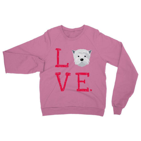 Image of LOVE Westie Sweatshirt Apparel kite.ly S Safety Pink