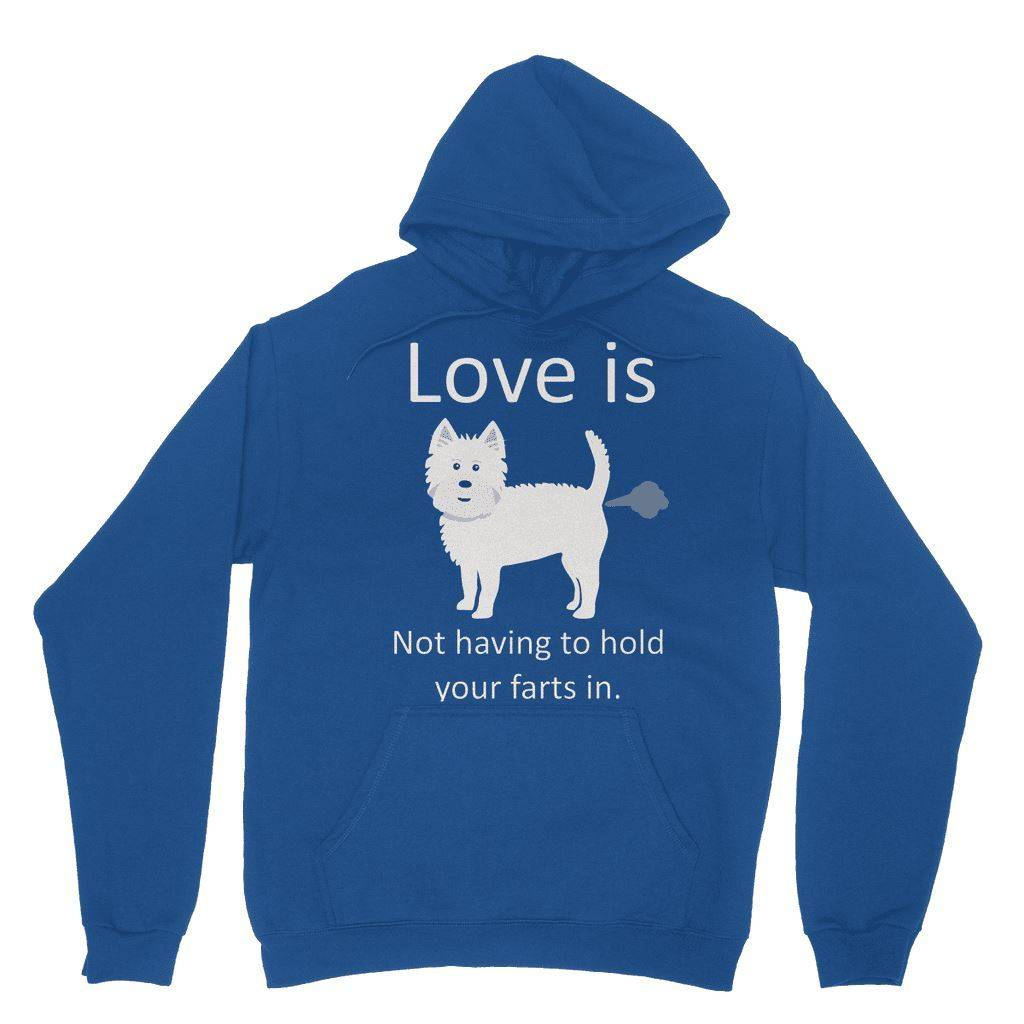 Love is not having to hold your farts in Heavy Blend Hooded Sweatshirt Apparel kite.ly XS Royal Blue