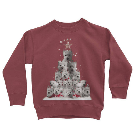 Image of Kids Westie Christmas Tree Sweatshirt Apparel kite.ly 3-4 Years Red Hot Chili
