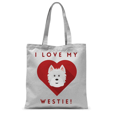 "Image of I Love My Westie Tote Bag Accessories kite.ly 15""x16.5"""