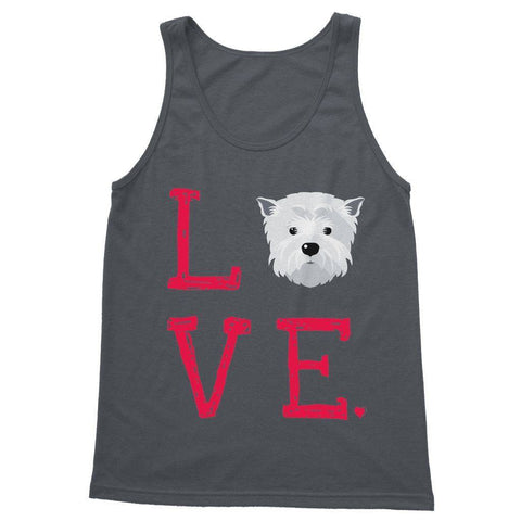 LOVE Westie Softstyle Tank Top Apparel kite.ly S Charcoal