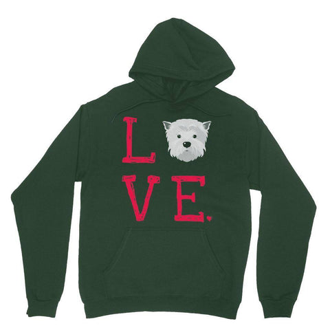 LOVE Westie Hoodie Apparel kite.ly S Forest Green