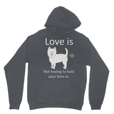 Image of Love is not having to hold your farts in Heavy Blend Hooded Sweatshirt Apparel kite.ly XS Charcoal