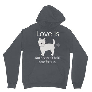 Love is not having to hold your farts in Heavy Blend Hooded Sweatshirt Apparel kite.ly XS Charcoal