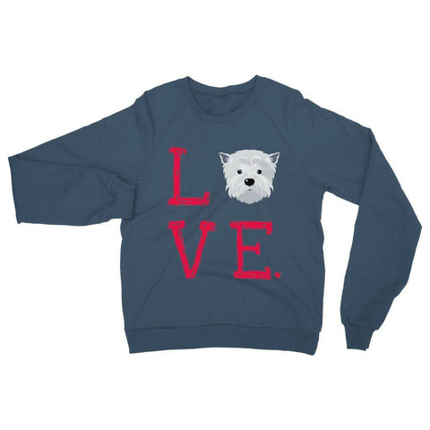 Image of LOVE Westie Sweatshirt Apparel kite.ly S Indigo Blue